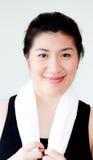 Überzeugte asiatische Frau Stockfoto