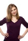 Überzeugte aufrichtige junge Frau Lizenzfreie Stockfotos