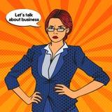 Überzeugte Geschäftsfrau Pop-Art Vektor lizenzfreie abbildung