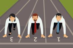 Überzeugte Geschäftsleute, die zum Rennen fertig werden vektor abbildung