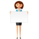 Überzeugte junge Geschäftsfrau, die Brett hält Geschäftsfrau-Charaktervektor Lizenzfreie Stockfotos