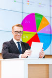 Überzeugter Öffentlichkeitssprecher Stockfoto
