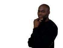 Überzeugter Afroamerikaner-männliches Lächeln lizenzfreie stockfotos