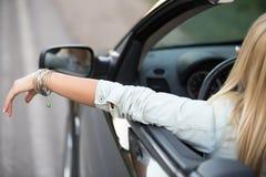 Überzeugter Damenfahrer Stockfoto