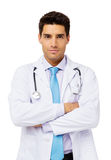 Überzeugter Doktor Over White Background Stockfotos