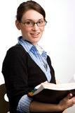 Überzeugter Geschäftsfrau- oder Buchhaltermesswert Stockbilder