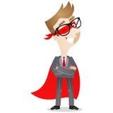 Überzeugter Geschäftsmann als Superheldblinzeln lizenzfreie abbildung