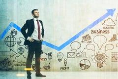 Überzeugter Geschäftsmann, Planskizze, Diagramm getont Lizenzfreies Stockfoto