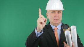 Überzeugter Ingenieur Making Attention Hand gestikuliert mit einem Finger sich anmelden lizenzfreie stockbilder