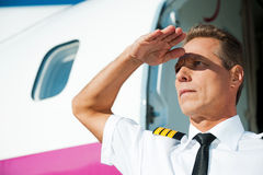 Überzeugter Pilot Stockbilder
