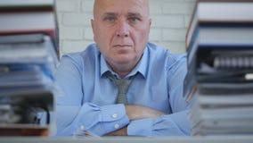 Überzeugter und ansehnlicher Geschäftsmann Sitting im Rechnungshof lizenzfreie stockbilder