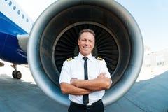Überzeugter und erfahrener Pilot Stockbild