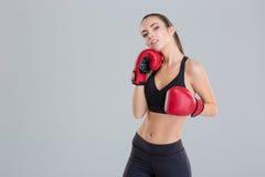 Überzeugtes hübsches Eignungsmädchen, das in den roten Boxhandschuhen aufwirft stockfoto