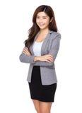 Überzeugtes Lächeln der Geschäftsfrau Stockfotografie