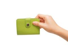 Überziehen Sie Visitenkartehalterung in der Hand mit Leder Lizenzfreie Stockfotografie