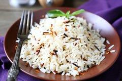 Überziehen Sie voll von gekochtem Reis, weiß und wild Stockfotos