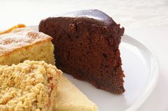 Überzogene Kuchenauswahl Stockfoto