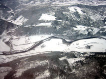 Überzogene Landschaft des Luftschnees Stockbilder