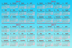 Üblicher Kalender für 2014 - 2017 Jahre Stockfotos