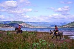 Üblicher Morgen am Salagou See Stockfotografie