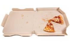 Übrig gebliebene Pizza im Kasten Stockbilder