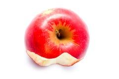 Übrig gebliebenes Bit des Apfels auf einem weißen Hintergrund Stockfotos