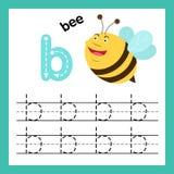Übung des Alphabetes B mit Karikaturvokabular stock abbildung
