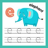 Übung des Alphabetes E mit Karikaturvokabular stock abbildung