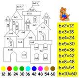 Übung für Kinder mit Vermehrung durch sechs - müssen Sie Bild in der relevanten Farbe malen Stockfotografie