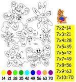 Übung für Kinder mit Vermehrung durch sieben - müssen Sie Bild in der relevanten Farbe malen Lizenzfreies Stockfoto