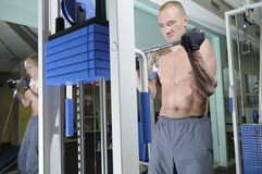 Übung mit Gewicht. Stockfotografie