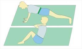 Übung sitzen oben und drücken hoch Stockfotos