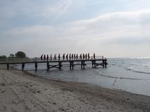 Übung am Strand Stockfoto