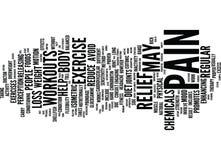 Übung und Diät als Schmerzlinderungs-Therapie-Text-Hintergrund-Wort-Wolken-Konzept lizenzfreie abbildung
