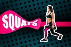 Übung von Hocken mit Gewicht, durchgeführt von einer Sportfrau stockfoto