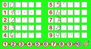 Übungen für Kleinkinder Müssen Sie die Zahlen entsprechend der Probe zeichnen Sich entwickelnde Fähigkeiten für die Zählung und d Lizenzfreie Stockbilder