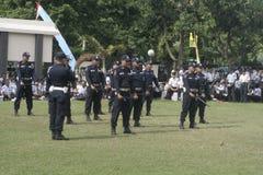 Übungs-Einheits-Sicherheitsbeamt-Polizeihauptquartier, das in Surakarta errichtet Stockbilder
