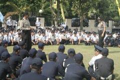 Übungs-Sicherheits-Einheit befehligt das Polizeihauptquartier, das in Surakarta errichtet Lizenzfreie Stockfotos