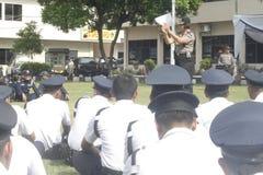 Übungs-Sicherheits-Einheit befehligt das Polizeihauptquartier, das in Surakarta errichtet lizenzfreies stockbild