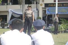 Übungs-Sicherheits-Einheit befehligt das Polizeihauptquartier, das in Surakarta errichtet lizenzfreie stockbilder