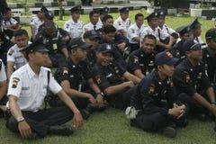 Übungs-Sicherheits-Einheit befehligt das Polizeihauptquartier, das in Surakarta errichtet Stockfotografie