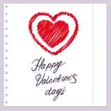 Übungsbuchpapier mit einem Bild des Herzens Lizenzfreie Stockbilder