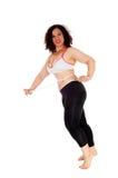 Übungsfrau, die ihren Magen misst Lizenzfreie Stockbilder
