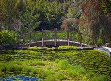 Üppiger japanischer Garten, der eine grüne Brücke kennzeichnet Stockfotos