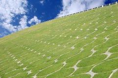 Üppiges grünes Gras auf der Steigung einer Überführung Lizenzfreies Stockbild