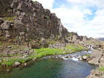 Þingvellir National Park, Iceland. Iceland's national park is full of streams, rivers, and lakes.  This one is especially clear and of historic note Stock Photography