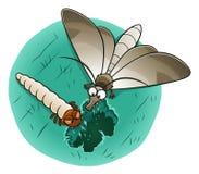 Ćma i larwa je woolen płótno ilustracji