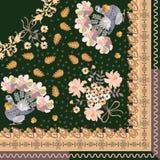 Ćwiartka chusta w etnicznym stylu Gołąbki z ogonami w kształcie bunchs kwiaty, mali serca, stylizowani dębów liście i Pais ilustracji