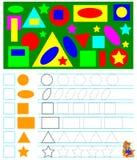 Ćwiczenia dla młodych dzieci - potrzebuje liczyć geometryczne postacie i rysować koresponduje liczby w kwadratach Zdjęcie Royalty Free