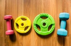 Ćwiczenie ciężary - dumbbell z dodatków talerzami na nieociosanym drewnianym pokładzie Fotografia Stock